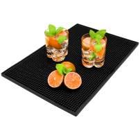 "Bar Service Mat, Rubber Salon Mat Large Square 17.7"" x 11.8"" Flexible PVC Kitchen Drink Service Mat, Non-Slip Heat Resistant Heavy Duty Dish Drying Pad Rectangle Waterproof Drip Mat Black"