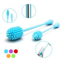 """Silicone Bottle Brush with 15"""" Long Handle [Set of 2] for Cleaning Baby Bottles, Hydro Flasks, Sports Water Bottles, Vases, Narrow Neck Glassware - Includes 15"""" and 9.5"""" Bottle Cleaning Brush (Blue)"""