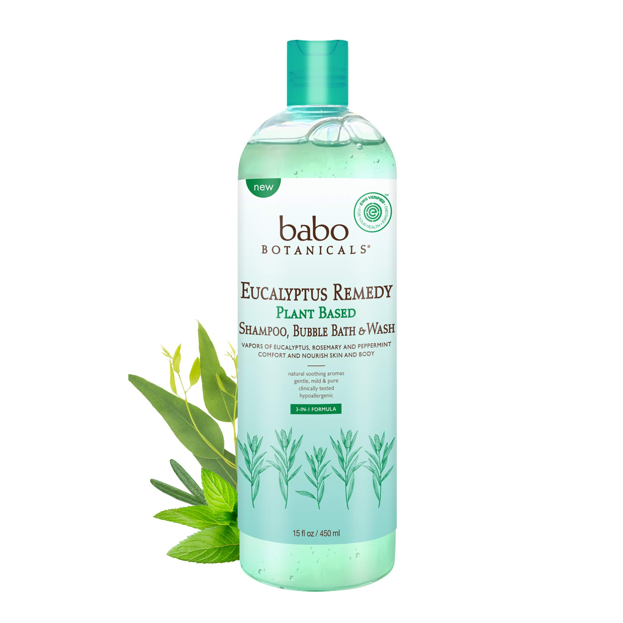 Babo Botanicals Eucalyptus Remedy Plant Based 3-in-1 Shampoo, Bubble Bath & Wash, Organic - 15 oz.