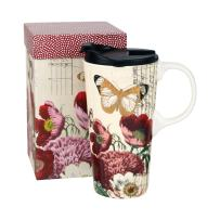 Topadorn 17 OZ Ceramic Mug Travel Cup with Handle and Gift Box Red Flower and Butterfly
