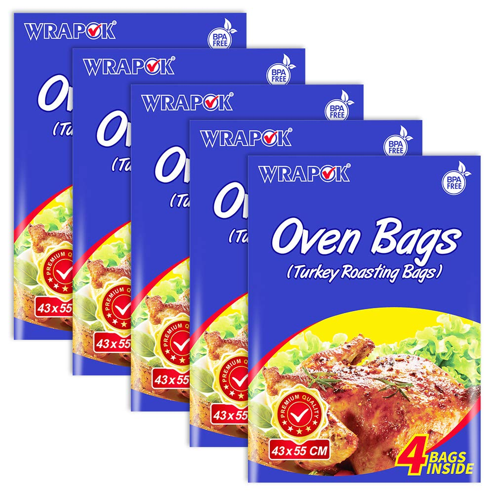 WRAPOK Oven Cooking Turkey Bags Large Size Ribs Baking Roasting Bags No Mess For Chicken Meat Ham Poultry Fish Seafood Vegetable - 20 Bags (17 x 21.5 Inch)