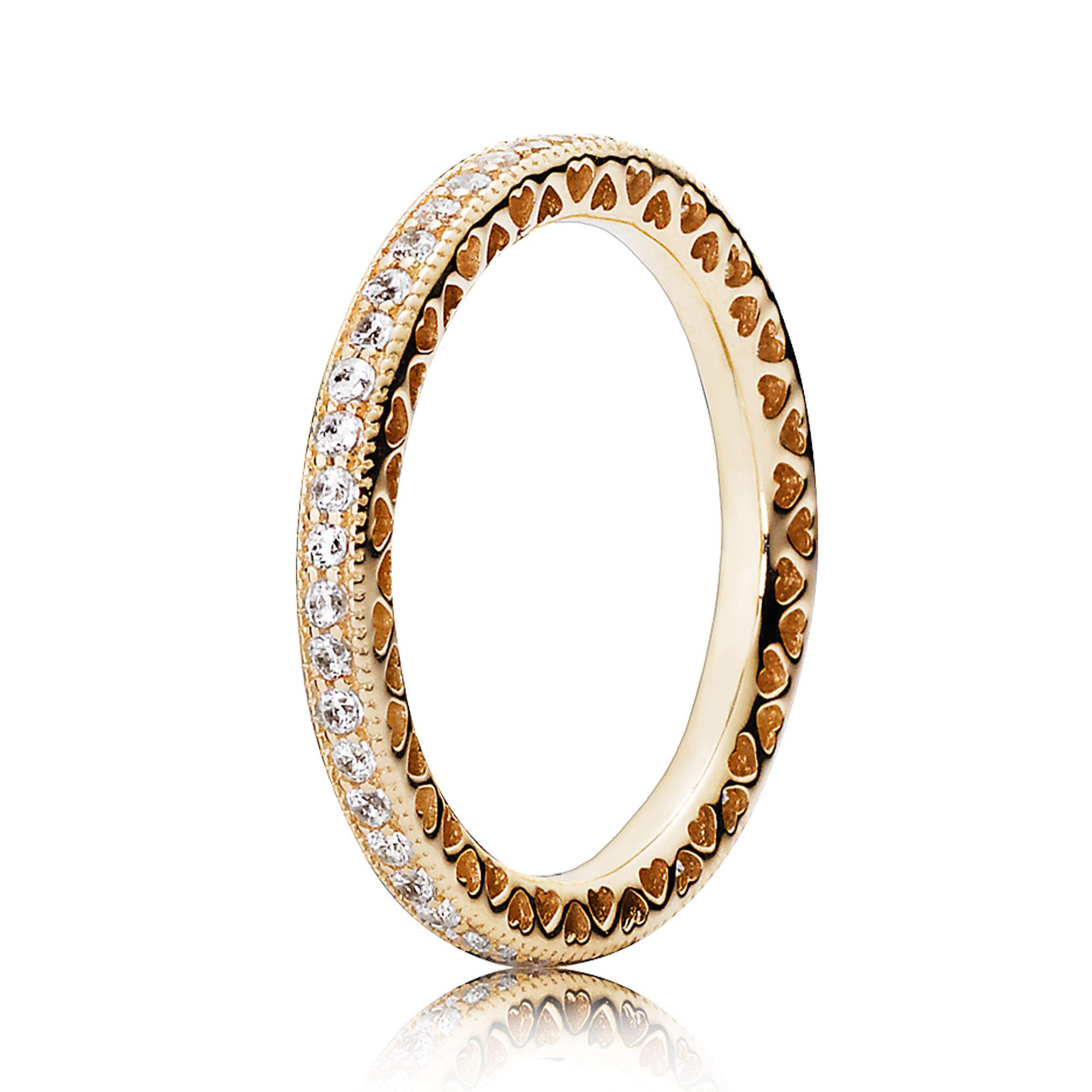 Pandora Jewelry Hearts of Pandora Cubic Zirconia Ring in Gold 14K, Size 7.5