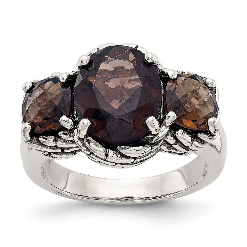 925 Sterling Silver Smoky Quartz Band Ring Stone Gemstone Fine Mothers Day Jewelry For Women Gifts For Her