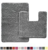 GORILLA GRIP Original Shaggy Chenille 2 Piece Area Rug Set, Includes Square U-Shape Contoured Toilet Mat & 30x20 Bathroom Rugs, Machine Wash/Dry Mats, Soft, Plush Rugs for Tub Shower & Bath Room, Gray