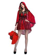 Women Classic Little Red Riding Hood Costume,Red Dress and Hooded Cape