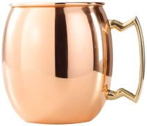 24 Oz. Old Dutch Solid Copper Moscow Mule Mug with Brass Accents