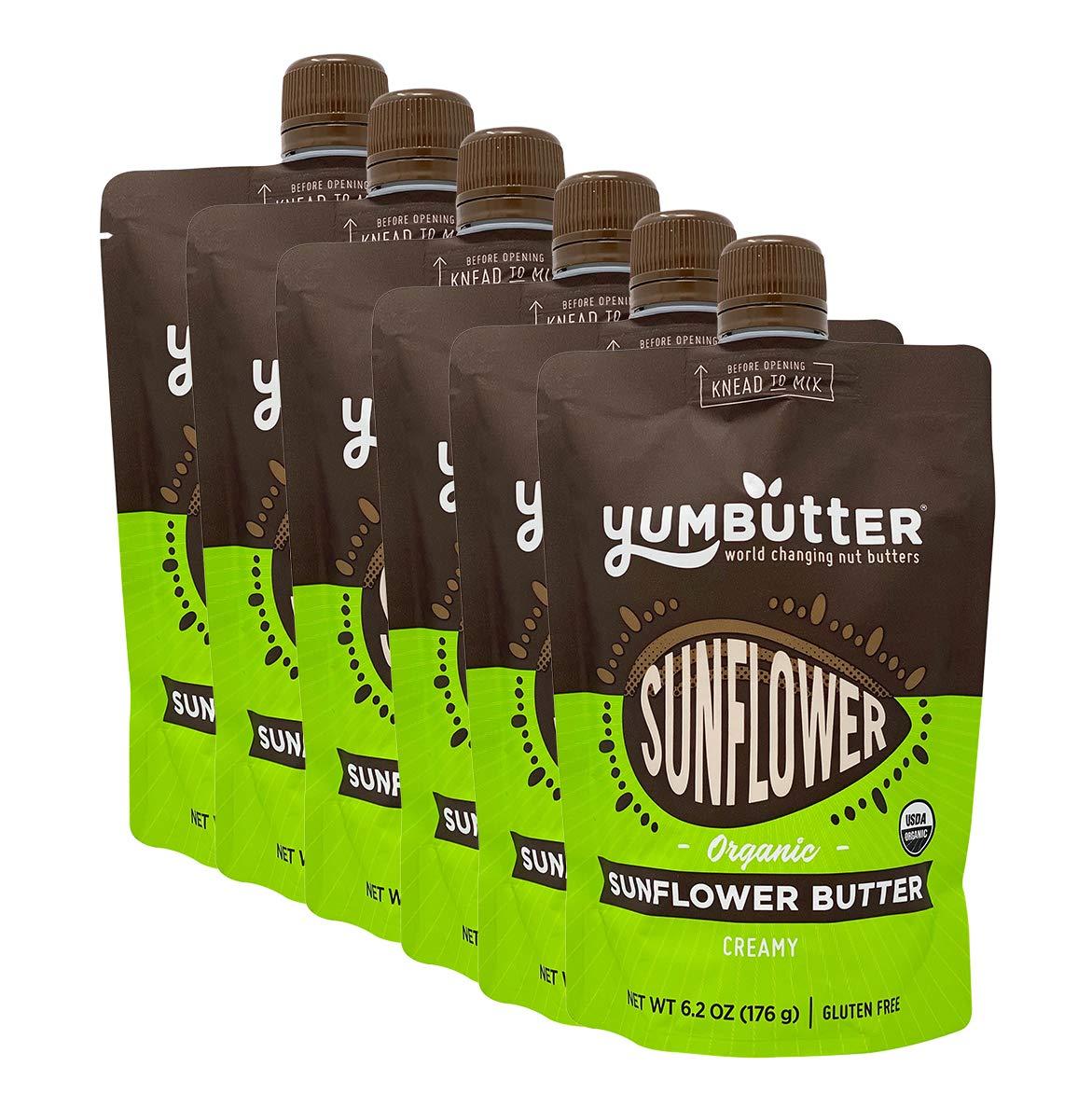 Organic Sunflower Butter by Yumbutter, Creamy Seed Butter, USDA Organic, Gluten Free, Vegan, Non GMO, 6.2oz Pouch (Pack of 6)