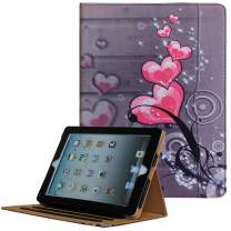 For iPad 9.7 6th/5th Generation 2018/2017, iPad Air/Air 2 Case, JYtrend Multi-Angle Viewing Stand Folio Smart Cover With Pocket For A1893 A1954 A1822 A1823 A1474 A1475 A1476 A1566 A1567 (Heart Flower)