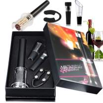 Wine Opener Set,V-Resourcing Wine Accessory Tool Kit:Air Pressure Bottle Opener with Wine Pourer,Foil Cutter and Vacuum Stopper(Gift Box)