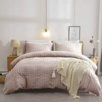 TanNicoor Seersucker Duvet Cover Set Beige,Luxury Washed Cotton Comforter Quilt Bedding Covers with Zipper and Corner Ties - Ultra-Soft & Hypoallergenic(3 Piece King)