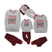 Matching Family Pajamas Sets Merry Christmas Long Sleeve Tee and Red Plaid Pants Loungewear