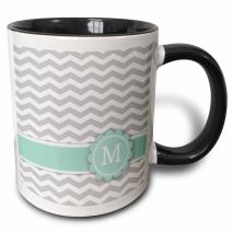 3dRose 154232_4 Letter M monogrammed on grey and white chevron with mint Mug, 11 oz, Black