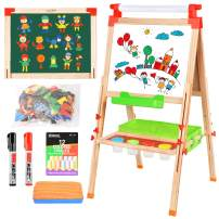 BATTOP Easel for Kids with Paper Roll, Magnetic Sticker Art Easel for Kids 3 in 1 Double Sided Childrens Homeschool Easel Chalkboard Dry Erase Whiteboard Toddler Toy Easel Paint Cups Wooden Adjustable