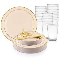 360 Piece Elegant Disposable Plastic Dinnerware Set for 60 Guests - Fancy Gold Rimmed Ivory Dinner Plates, Dessert Plates, Silverware Set & Party Cups For Wedding, Easter, Birthday & All Occasions
