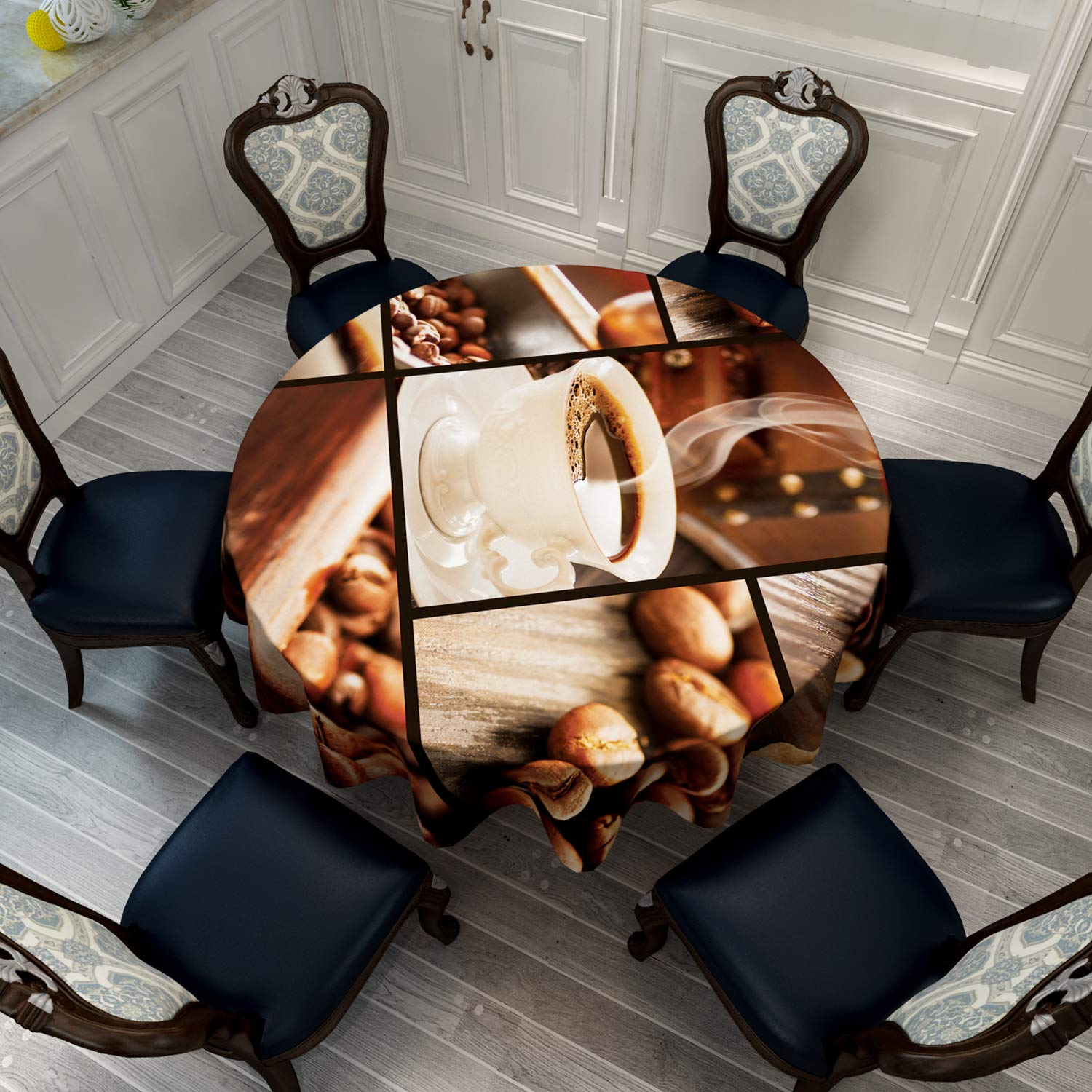 VVA Round Tablecloth -Collage with Coffee Cups, Sugar Cubes, Coffee Beans, Roaster and Grinder - Round Table Cover for Dining Rooms and Kitchens, Indoor and Outdoor Events - 60 Inch, Brown