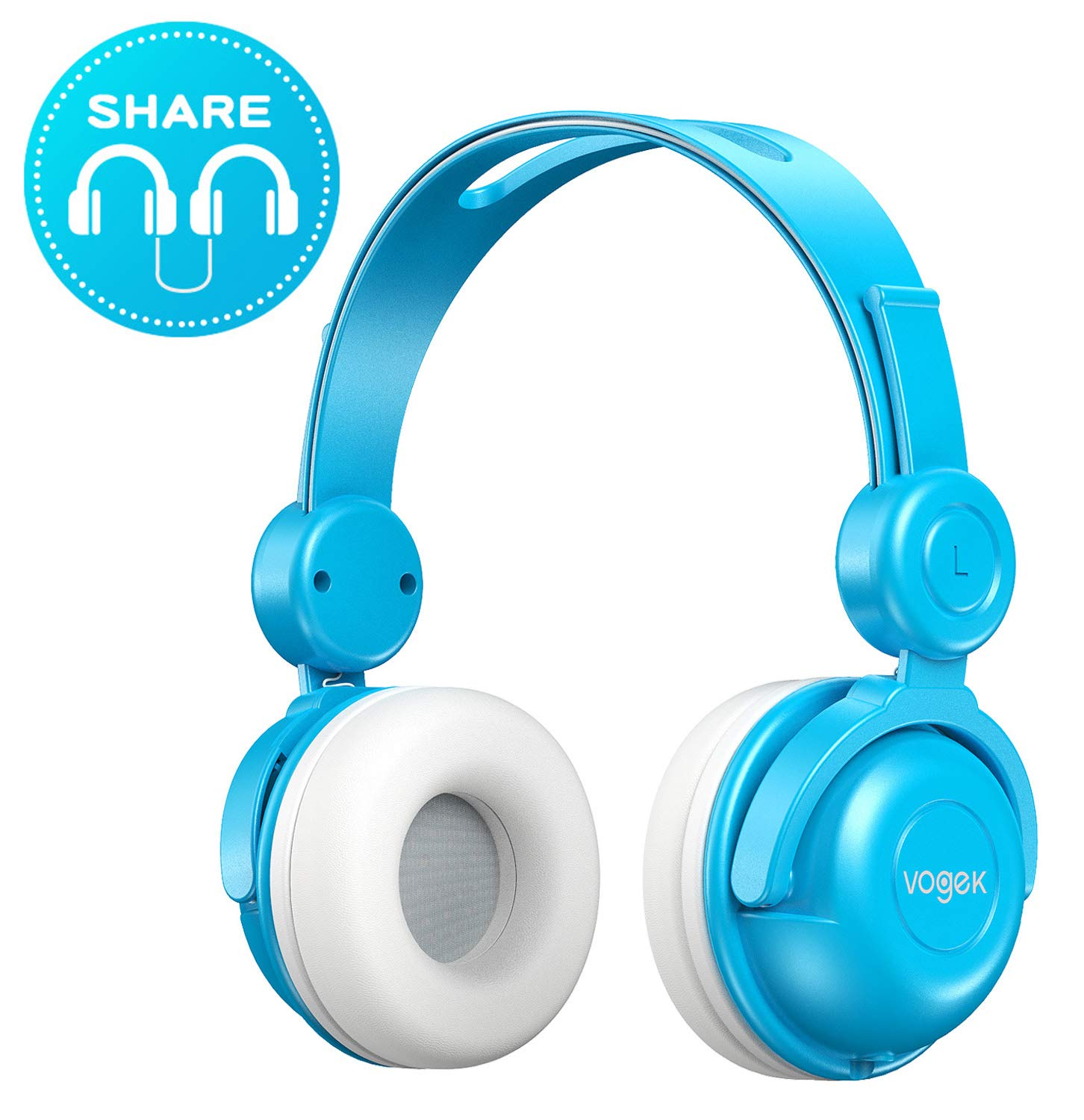 Kids Headphones, Vogek Wired On-Ear Child Headphone Headset with Mic, HD Sound Sharing Function and 85dB Volume Limited Hearing Protection for Phone Tablet PC Kindle (Blue)