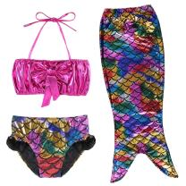 TFJH E 3PCS Kids Girls Swimsuit Bathing Suits Bikini Fish Tail Set 3-10Years