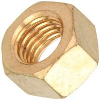 """Silicon Bronze Hex Nut, Plain Finish, ASME B18.2.2, 1-1/2""""-6 Thread Size, 2-1/4"""" Width Across Flats, 1-9/32"""" Thick"""