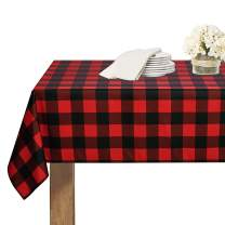 RYB HOME Christmas Table Cloth - Spillproof Waterproof and Wrinkle Free Buffalo Plaid Farmhouse Tablecover for Dining Room Kitchen Banquet, 60 x 84 Inch, Red and Black Checkered