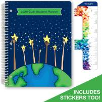 """Dated Elementary Student Planner for Academic Year 2020-2021 (Matrix Style - 8.5""""x11"""" - Reach for The Stars Cover) - Bonus Ruler/Bookmark and Planning Stickers"""