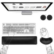 AtailorBird Keyboard Wrist Rest Set, Waterproof PU Leather Ergonomic Memory Foam Wrist Rests for Keyboard and Mouse Pain Relief Easy Typing, Including 2 Free PU & Cork Coaster, Black