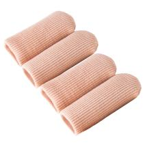 Makhry 4pcs Adjustable Cuttable Gel Toe and Finger Cap Lined Gel Toe Covers Sleeves Ribbed Knit Toe Caps Silopad Digital Caps (XL)