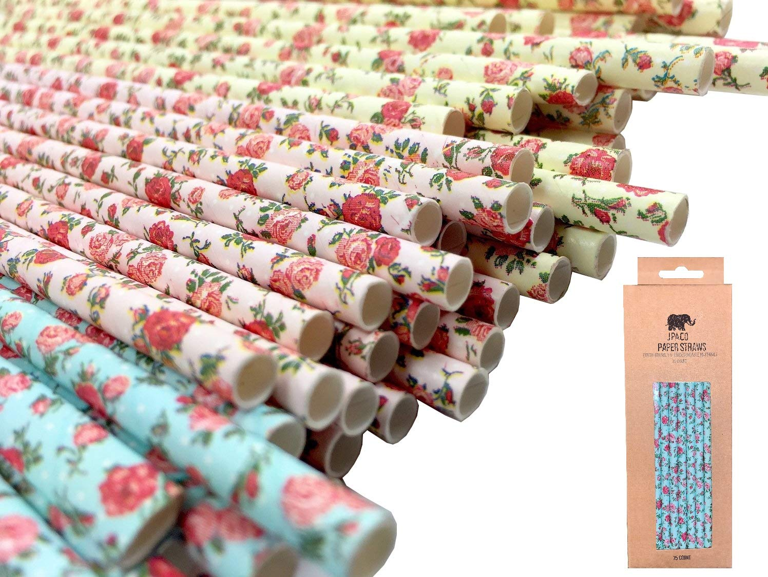 JPACO Jumbo Floral Paper Straws for Boba (75 Pack, Pink, Blue, Yellow) Vintage Flower & Rose Designs, Biodegradable Eco Friendly Disposable Party Straws for Party & Events