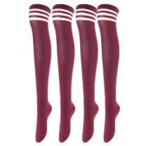 Women's 4 Pairs Thigh High Socks Over the Knee High Leg Wamers Girls Winter Warm Crochet Socks
