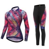 AIPEILEI Women's Cycle Jersey Long Sleeve Road Bike Mountain Riding Wear Full Zip