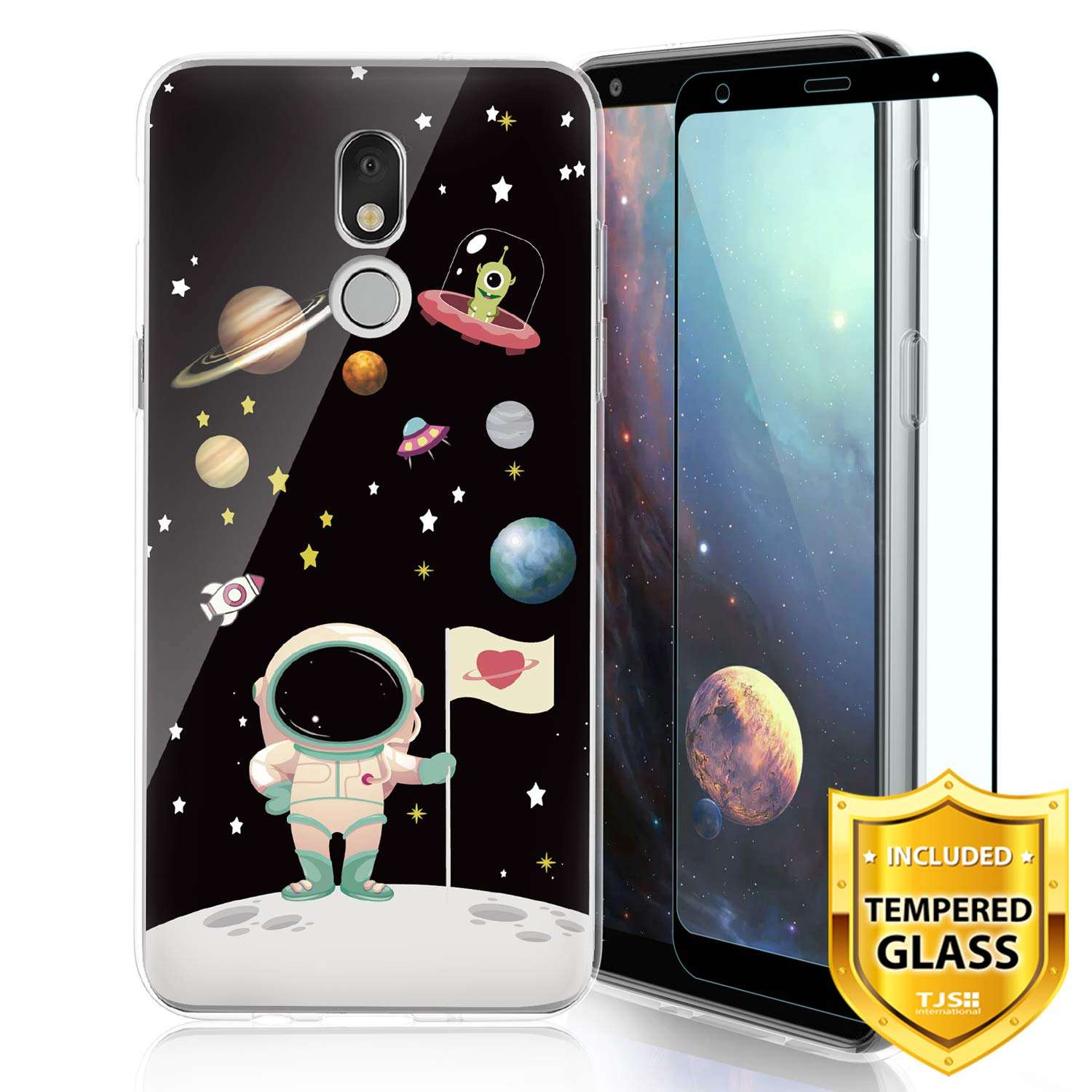 TJS Phone Case for LG Aristo 4 Plus X320/LG X2 2019/LG K30 2019, with [Full Coverage Tempered Glass Screen Protector] Ultra Thin Slim TPU Matte Color Design Transparent Clear Soft Skin (Astronaut)
