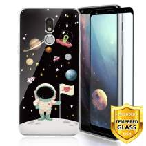 TJS Phone Case for LG Stylo 5/Stylo 5 Plus/Stylo 5V/Stylo 5X, with [Full Coverage Tempered Glass Screen Protector] Ultra Thin Slim TPU Matte Color Transparent Clear Soft Skin Design Cover (Astronaut)