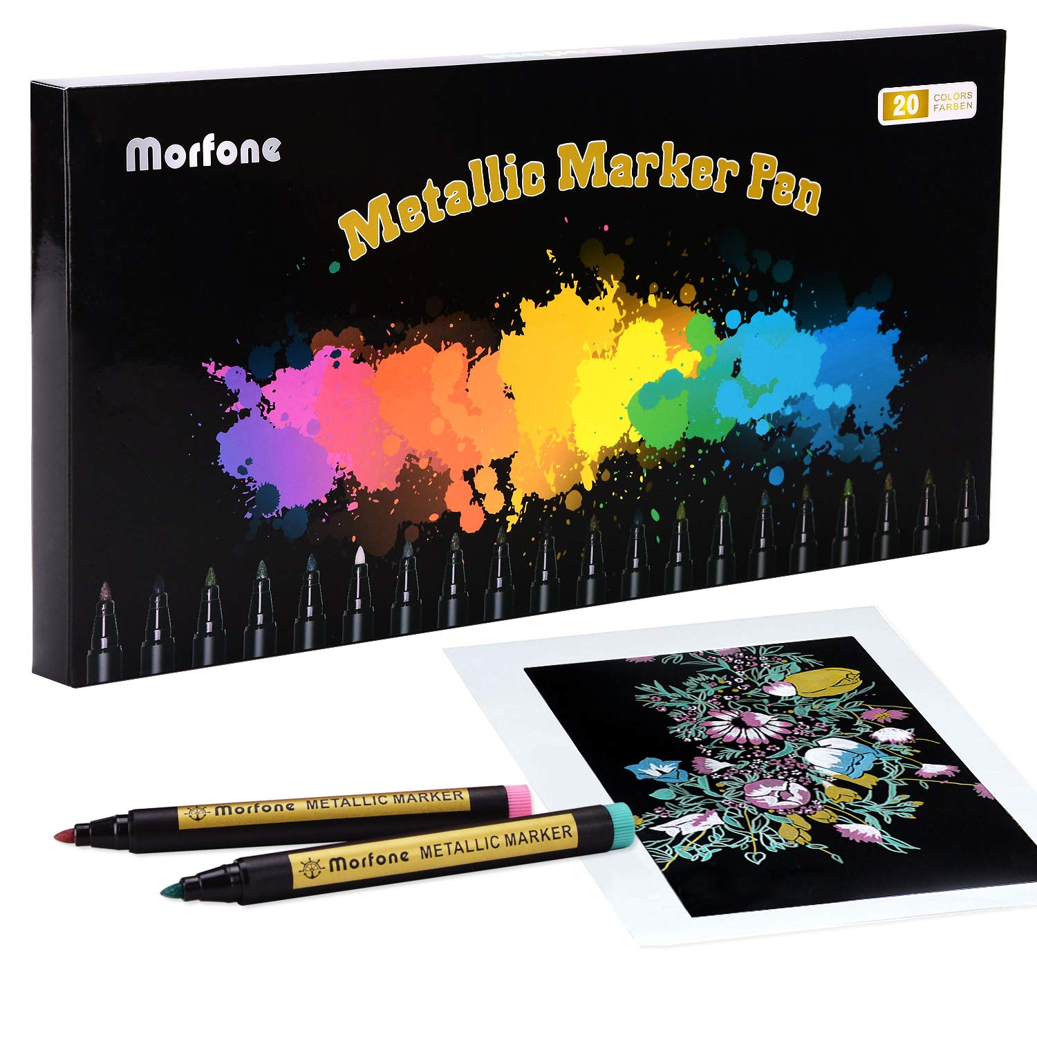 Metallic Markers, Morfone 20 Color Paint Marker Pens for Card Making, Rock Painting, Coloring, Scrapbooking, Ceramic, Glass, Wood, Metal, School Project, Art, Craft (Medium tip 2mm)
