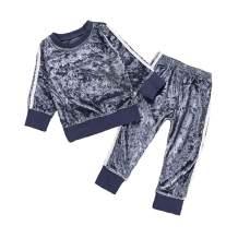 Ritatte 2 Pcs Fashion Toddler Kids Baby Girls Velvet Clothes Outfit Pant Set Fall Winter