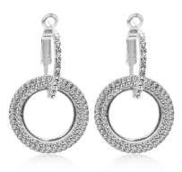 Dreamerry Women's Stainless Steel Pierced Large Double Hoop Earrings with Rhinestone