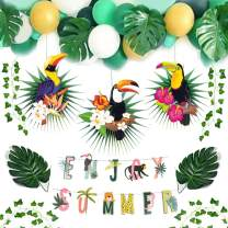 Jungle Party Decoration Kit Enjoy Summer Banner Toucan Paper Fans Tropical Ivy Palm Leaves Animal Safari Birthday Tropical Party Supplies SUNBEAUTY