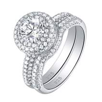 Newshe Engagement Wedding Rings for Women 925 Sterling Silver Band Bridal Set Cz 2.8ct Size 5-10