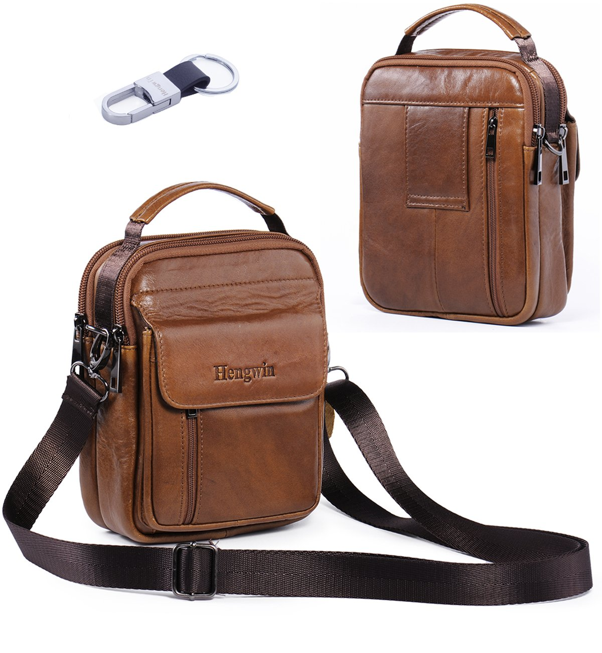Hengwin Belt Loop Cellphone Pouch iPhone 11 Pro Max XS Max XR 8/7/6 Plus Galaxy S20 Holster Case Leather Crossbody Phone Belt Bag with Shoulder Strap Travel Men Purse Handbag Messenger Bags +Keychain