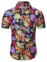 QZH.DUAO Men's Pineapple Print Short Sleeve Floral Aloha Hawaiian Shirt