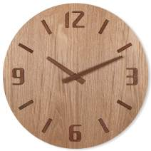 "TXL 12"" Wood Wall Clock with Mahogany Stereo Numerals/Table Stand, Battery Operated Non Ticking Large Digital Wooden Hanging Clock, Dining Room/Office/Kitchen/Cafe/Restaurant for Desk/Wall Mounted"