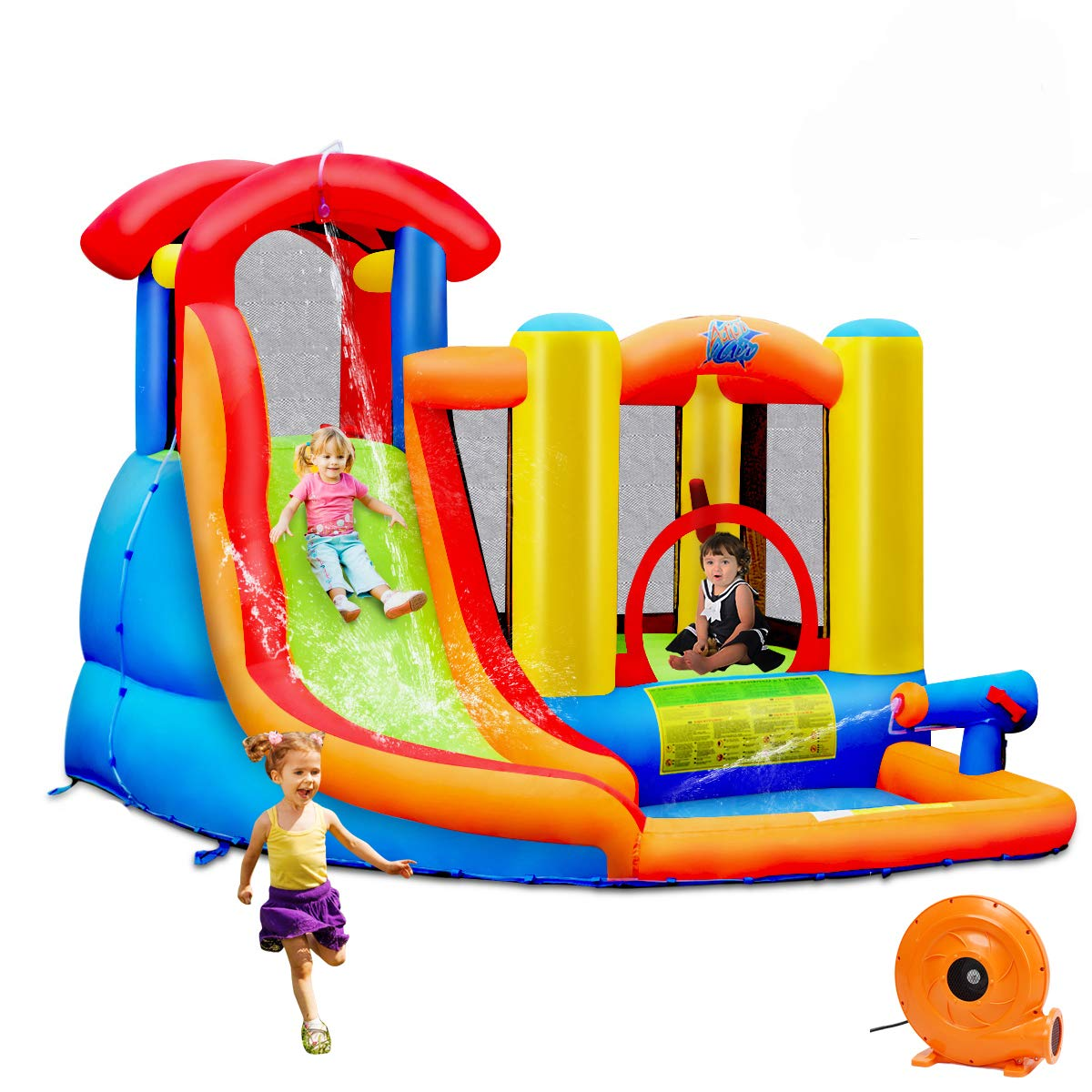 BOUNTECH Inflatable Bounce House, 6 in 1 Water Slide Jumping Park w/Splashing Pool, Climbing Wall, Water Cannon, Basketball Scoop, Including Carry Bag, Stakes, Repair Kit, Hose (with 740W Air Blower)