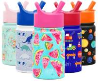Simple Modern 10oz Summit Kids Water Bottle Thermos with Straw Lid - Dishwasher Safe Vacuum Insulated Double Wall Tumbler Travel Cup 18/8 Stainless Steel Watermelon Splash
