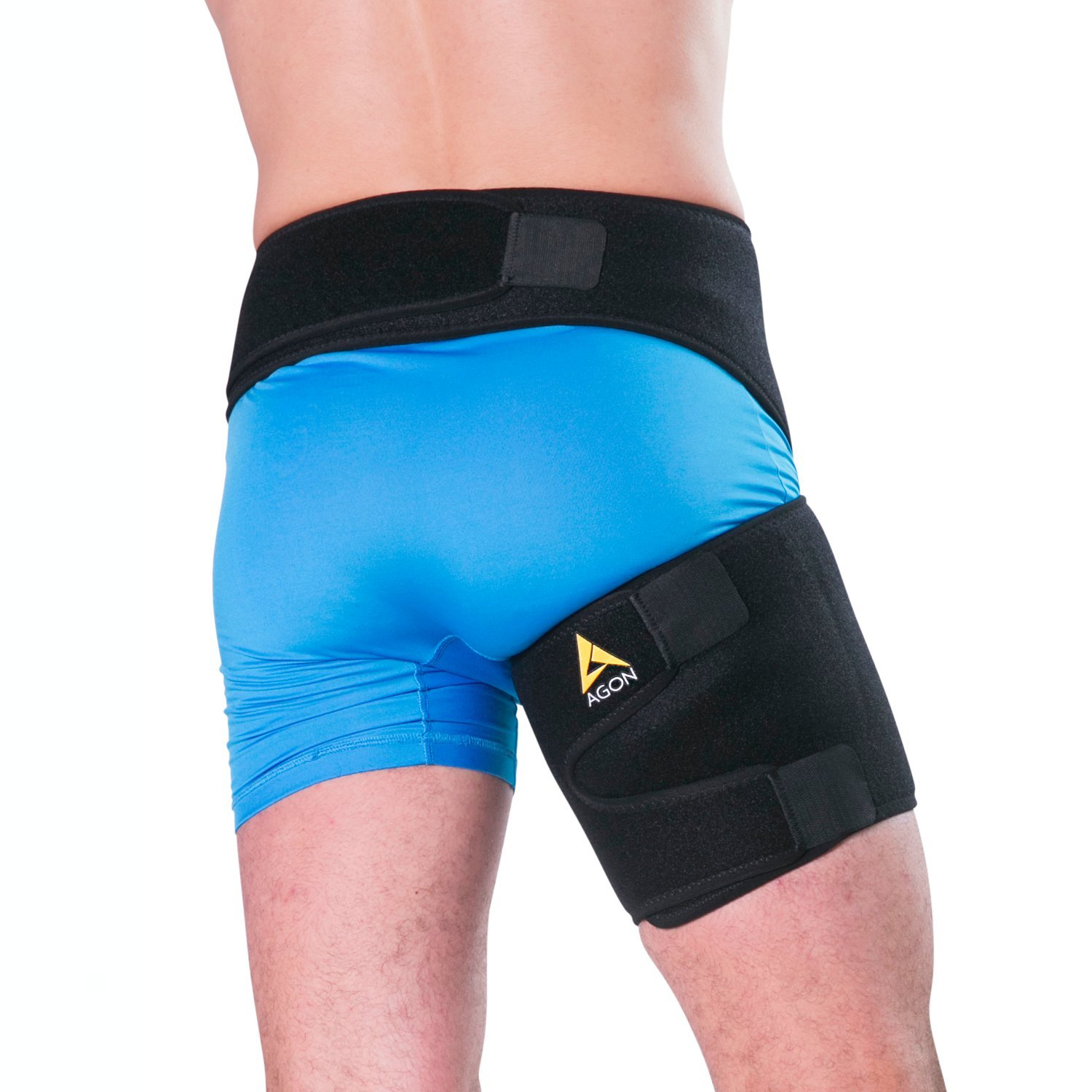 Agon® Groin Support - Pulled Hamstring Hip Joint Pain Thigh Wrap Brace Groin Strain Recovery & Sciatica Pulled Groin Quad Hamstring Compression Sleeve Injury for Men and Women