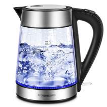 REDMOND Electric Kettle, 1.7L Cordless Glass Tea Kettle with LED Indicator, Stainless Steel Finish, 1500W Fast Boiling Hot Water Kettle BPA-Free, Auto Shut-Off & Boil Dry Protection, EK008