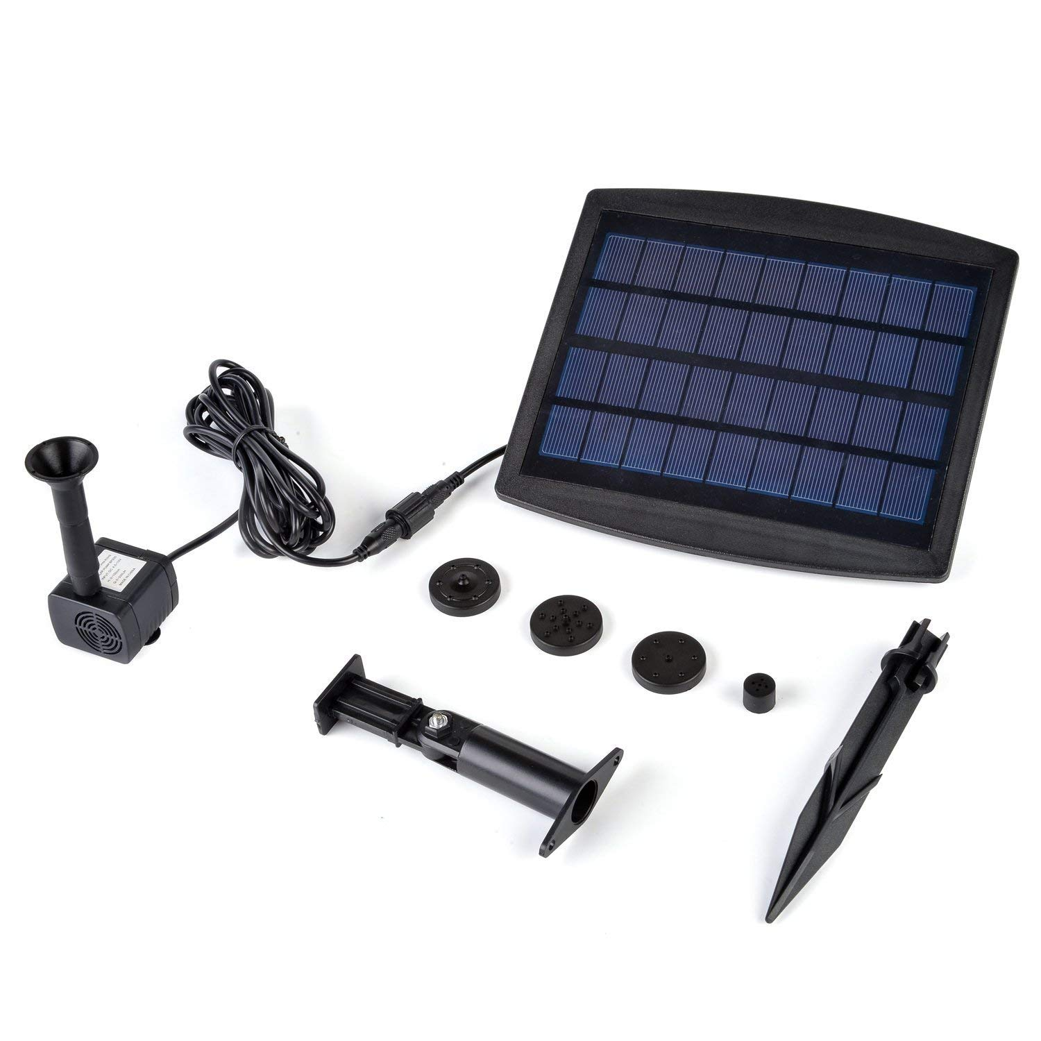 Weanas 9V 2.5W Solar Fountain Pump with Built-in Battery Backup, Free Standing Solar Powered Bird Bath Water Fountain Pump for Garden Fountain Pond Pool Outdoor