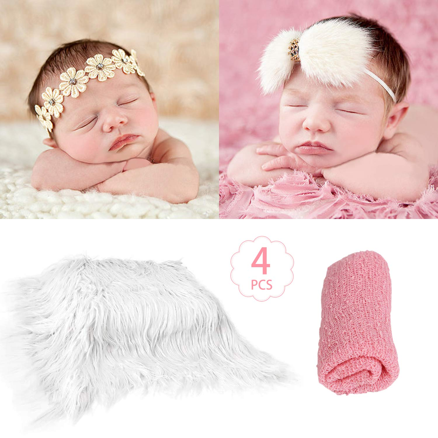 SPOKKI 4 Pcs Newborn Photography Props Outfits- Baby Pink Long Ripple Wrap and White Toddler Swaddle Blankets Photography Mat with Cute Headbands for Infant Boys Girls(0-12 Months)