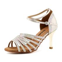 "SKOEX Women's Dance Shoes Ballroom Performance Latin Salsa Dancer Shoe with 3"" Heel"