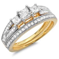 Dazzlingrock Collection 1.00 Carat (ctw) 18k Gold Princess Cut 3 Stone Diamond Engagement Bridal Ring Matching Band Set 1 CT