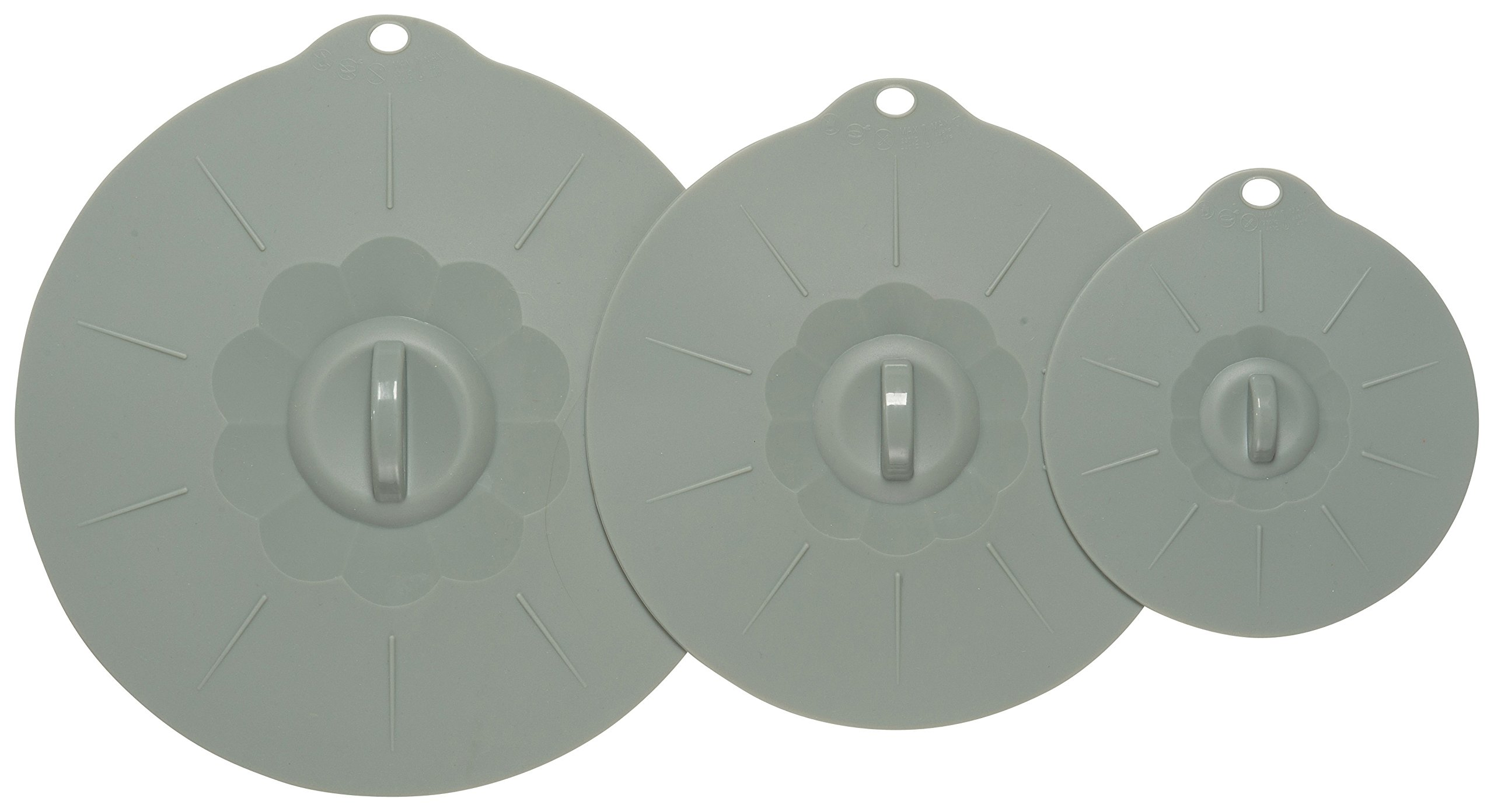 Now Designs 5021422 Silicone Suction Lids, Gray, Set of 3