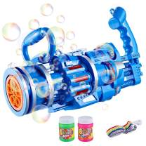 Gatling Bubble Machine, Gatling Bubble Gun 2021 Automatic Bubble Blower Machine Electric Bubble Gun Bubble Machine Toy for Toddler (Blue 02, 1 Pack)