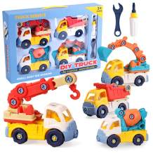 Lekebaby Take Apart Toys with Tools 4 in 1 DIY Construction Truck Set Kids STEM Building Toys Great Gifts for Boys 3 Years +